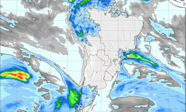 Pronóstico de precipitaciones para el miércoles.