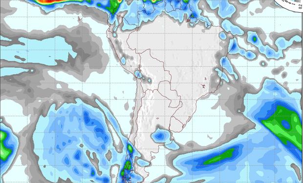 Pronóstico de precipitaciones válido para el 21 de agosto de 2014.