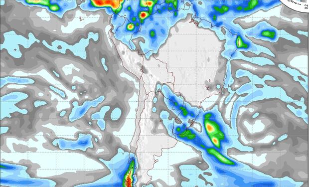 Pronóstico de precipitaciones válido para el 24 de junio de 2014