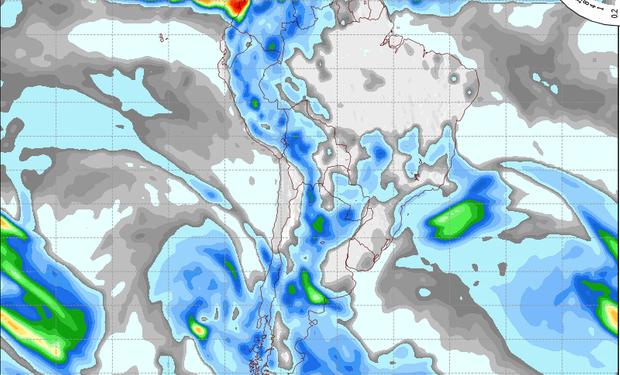 Pronóstico de precipitaciones válido para el 4 de setiembre de 2014.