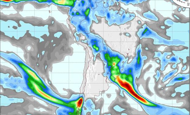 Pronóstico de precipitaciones válido para el 18 de julio de 2014.