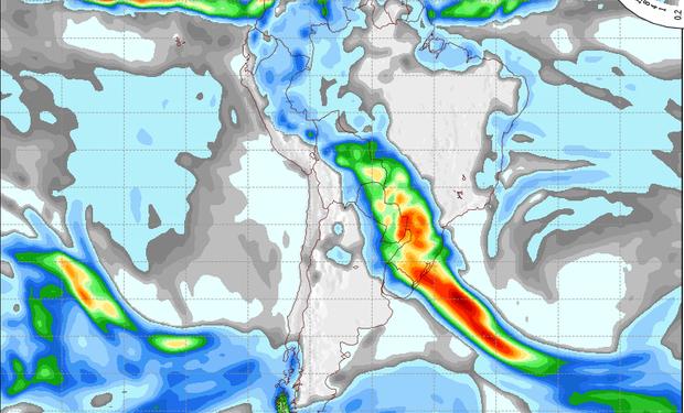 Pronostico de precipitaciones válido para el 24 de julio de 2014.