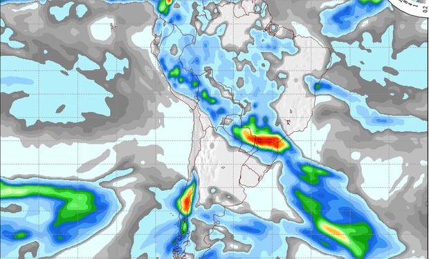Pronostico de precipitaciones válido para el 25 de septiembre de 2014.