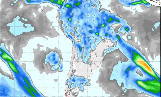Pronóstico de precipitaciones válido para el 3 de octubre de 2014.