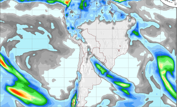 Mapa de precipitaciones válido para el 7 de agosto de 2014.
