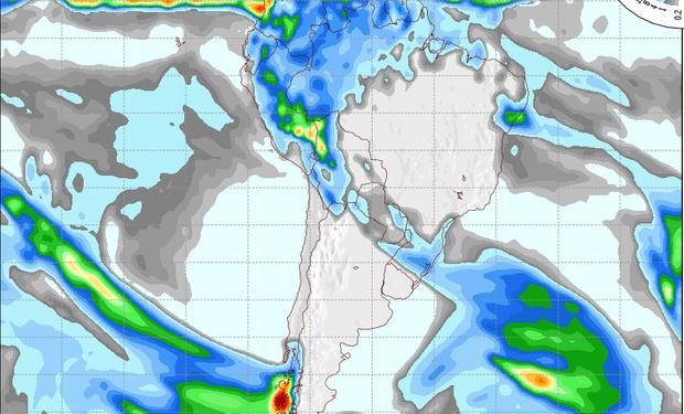 Pronóstico de precipitaciones sobre Argentina para el 8 de agosto de 2014.