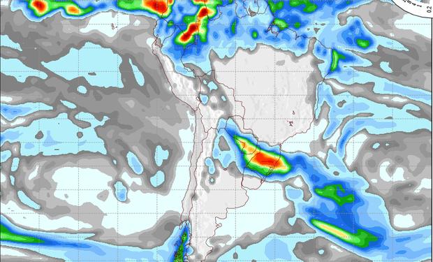 Pronóstico de precipitaciones válido para el 25 de junio de 2014