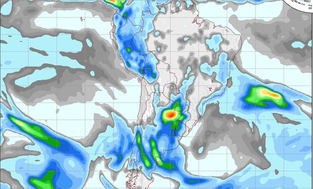 Pronóstico de precipitaciones válido para el 5 de setiembre de 2014.