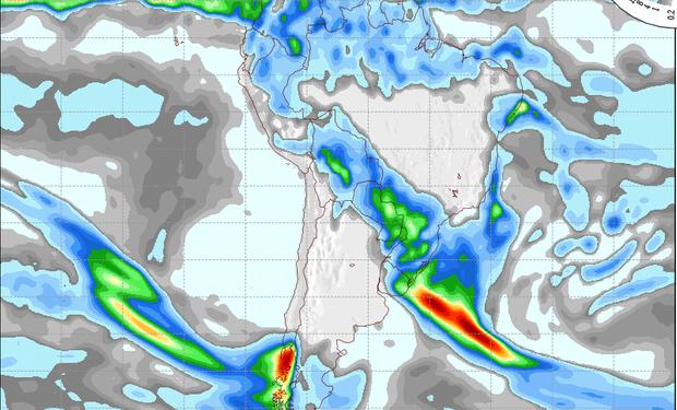 Mapa de precipitaciones válido para el 18 de julio de 2014.