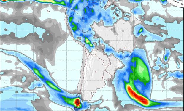 Pronóstico de precipitaciones válido para el 19 de julio de 2014.