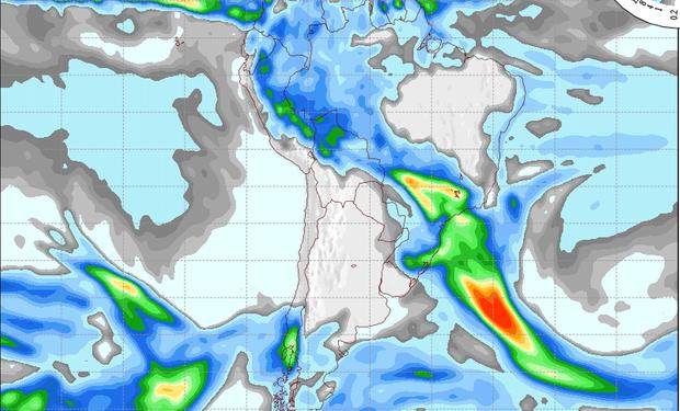 Pronostico de precipitaciones válido para el 25 de julio de 2014.