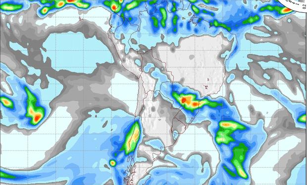 Mapa de precipitaciones válido para el 7 de junio de 2014