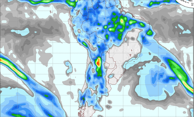 Pronóstico de precipitaciones válido para el 4 de octubre de 2014.
