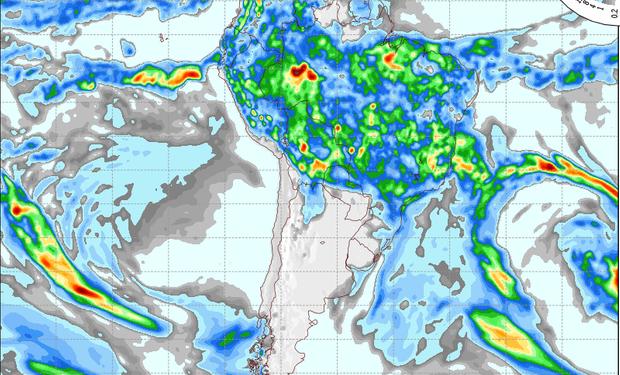 Pronóstico de precipitaciones para el jueves.
