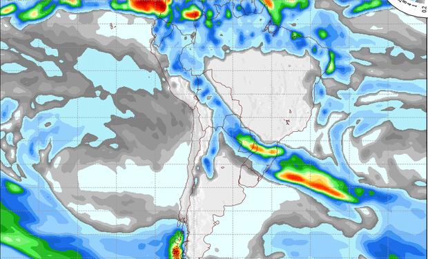 Pronóstico de precipitaciones válido para el 26 de junio de 2014