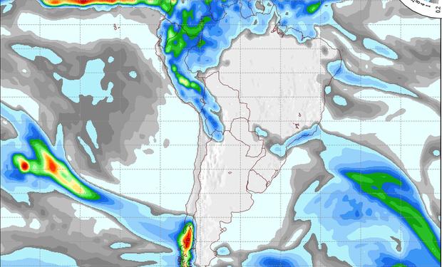 Pronóstico de precipitaciones sobre Argentina para el 9 de agosto de 2014.