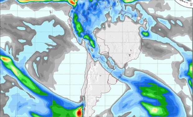 Mapa de precipitaciones válido para el 8 de agosto de 2014.
