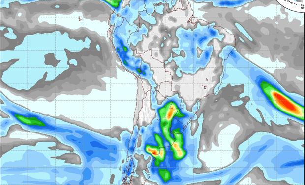 Pronóstico de precipitaciones válido para el 6 de setiembre de 2014.
