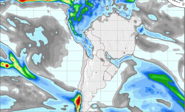 Mapa de precipitaciones válido para el 9 de agosto de 2014.