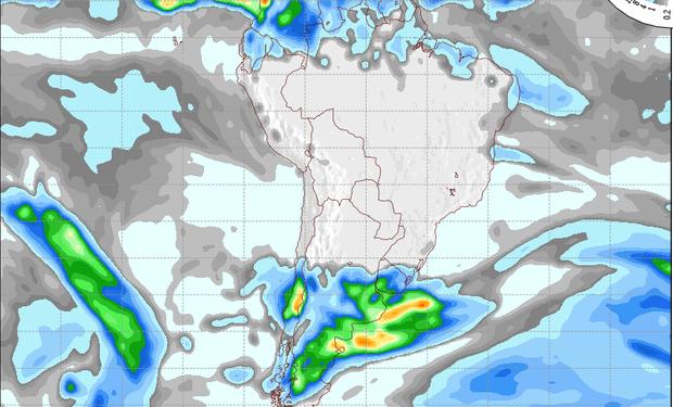 Pronóstico de precipitaciones válido para el 24 de agosto de 2014.