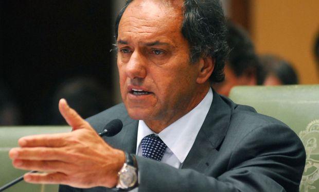 """""""Tengan muy presente que quiero ser el presidente de la producción, del trabajo argentino, de la industria nacional, fundamentalmente de la inversión"""", indicó Scioli."""