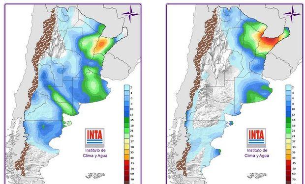 Pronóstico de precipitaciones sobre Argentina. Fuente: INTA