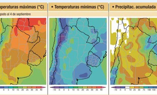Se esperan escasas lluvias en la mayor parte del área agrícola