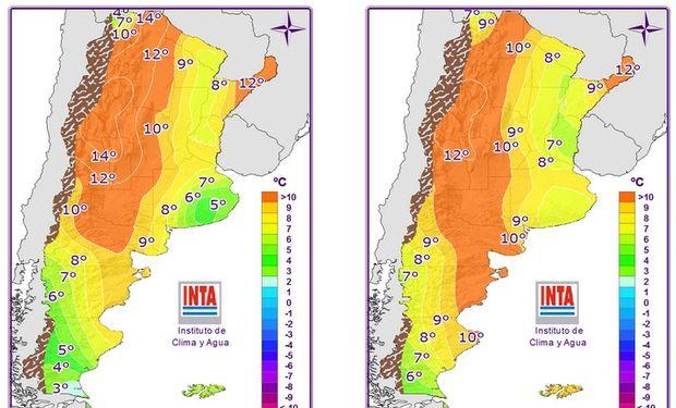 Mapas correspondientes a las temperaturas mínimas pronosticadas.