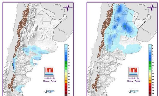 En el mapa del domingo se observa la intensidad de las lluvias pronosticadas.