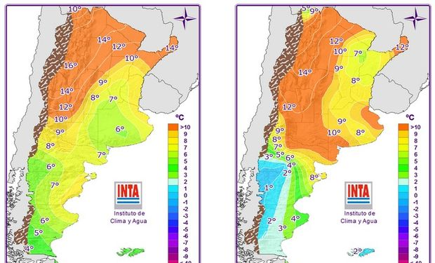 Mapas correspondientes a temperaturas mínimas pronosticadas.
