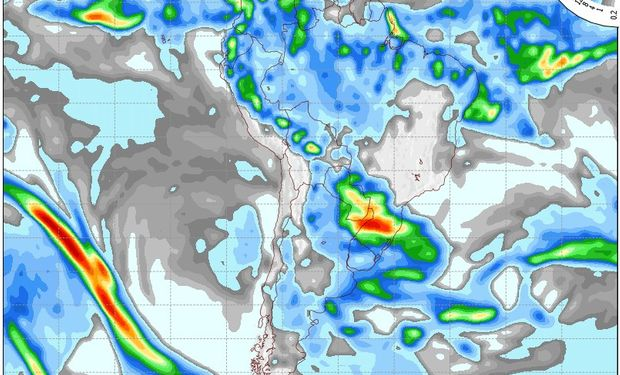 Mapa de precipitaciones válido para el 22 de mayo de 2014.