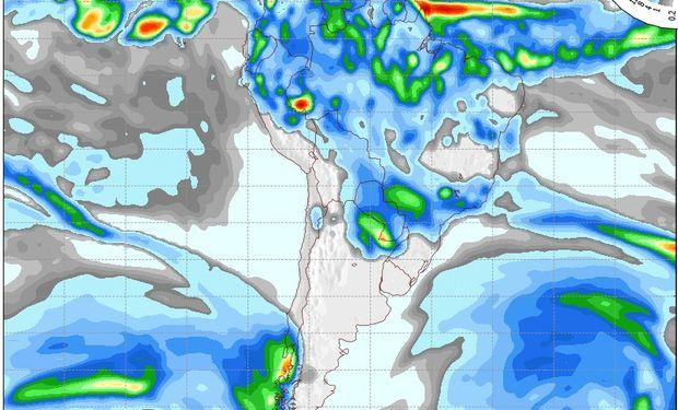 Mapa de precipitaciones válido para el 25 de mayo de 2014.
