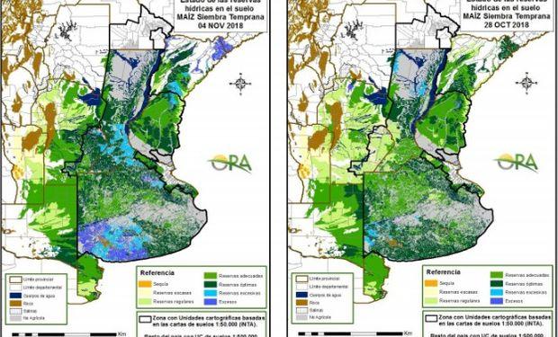 Los mapas corresponden a la estimación de contenido de agua en el primer metro de suelo para lotes de maíz.