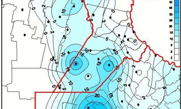 Acumulado de precipitación 12/06/14. Fuente: BCR