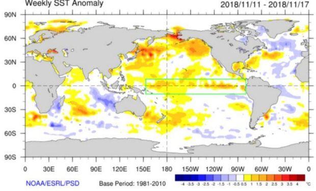 Se enmarca en verde el área del Pacífico Ecuatorial relacionada con los fenómenos El Niño/La Niña.