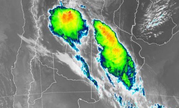Alerta por tormentas fuertes sobre el centro.