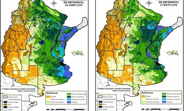 Reservas de humedad al 3 de junio y 27 de mayo respectivamente.