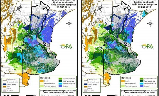 Reservas de humedad al 13 y 6 de enero respectivamente.