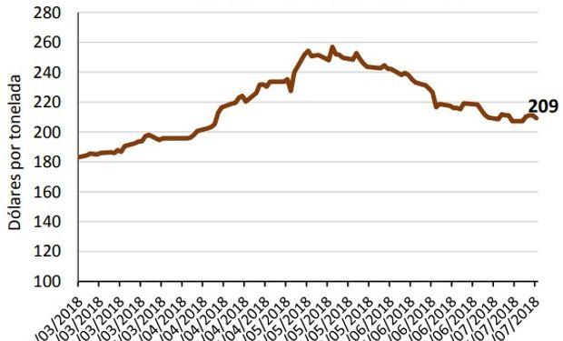 En los mercados a término de Argentina existe un aumento leve en los valores para los meses posteriores a la finalización de la cosecha.
