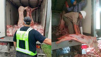 Decomisan más de 2 toneladas de carne de cerdo que se transportaba sin habilitación