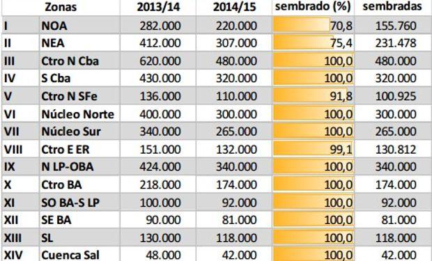 Siembra de maíz. Datos al 29/01/2015. Fuente: Bolsa de Cereales de Buenos Aires