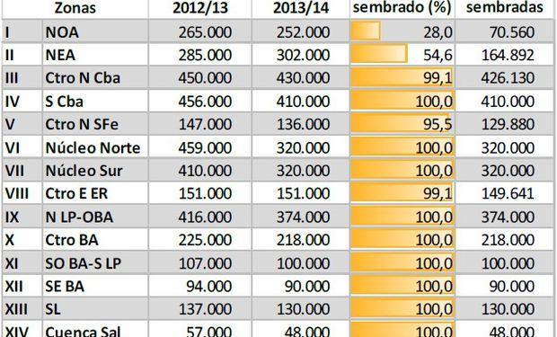 Siembra de maíz. Datos al: 22/01/2014. Fuente: Bolsa de Cereales de Buenos Aires