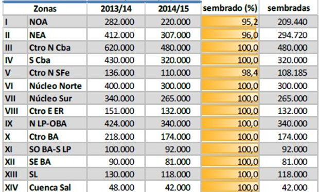 Siembra de maíz. Datos al 05/02/14. Fuente: BCBA