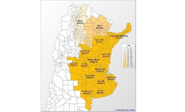 Avance de siembra de maíz por región. Datos al: 22/01/2014. Fuente: Bolsa de Cereales de Buenos Aires