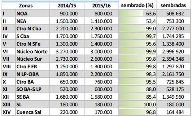 Siembra de soja. Datos al 7 de enero. Fuente: BCBA.
