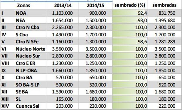 Siembra de soja. Datos al 29/01/2015. Fuente: Bolsa de Cereales de Buenos Aires