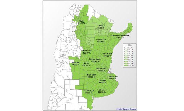 Avance de siembra de soja por región. Datos al: 22/01/2014. Fuente: Bolsa de Cereales de Buenos Aires