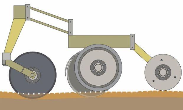 Tren de siembra con cuchilla lisa para evitar la remoción del suelo con alta humedad.