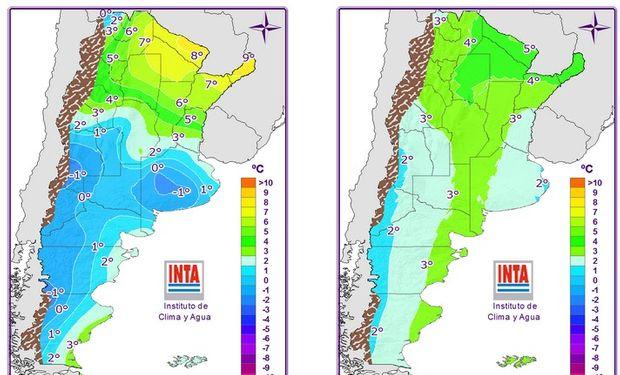 Mapas correspondientes a las temperaturas mínimas pronosticadas para viernes y sábado.