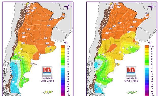 Temperaturas mínimas pronosticadas. Fuente: INTA